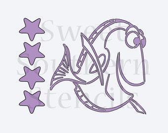 Blue Fish PYO Cookie Stencil