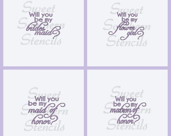 Will you be my....? Stencils (4 separate stencils)