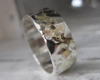 Mens Wedding Band Mens Wedding Ring Hammered Silver Ring Wide Silver Ring Gold Silver Ring 10mm Unique Ring Unique Ring Rustic Mens Ring