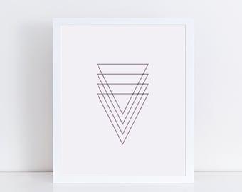 SALE - Purple Triangle Art, Abstract Geometric Prints, Modern Art, Minimalist Home Decor, Printable Wall Art, Purple Decor
