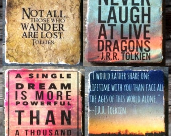 Inspirational Tolkien Quotes from LOTR Tile Set x4