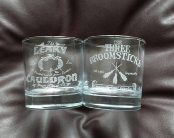 Set of 2 Hand etched, Harry Potter pub logo mixer glasses