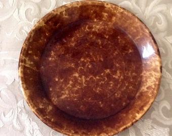 Bennington Rockingham Pottery  Brown Pie Plate 1800s