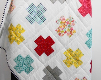 Plus Quilt / Swiss Crosses Quilt / Baby Quilt / Throw Plus Quilt / Toddler Plus Quilt / Baby Plus Quilt