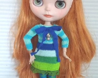 Green and blue striped dress for Blythe