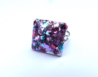 Pink blue purple glitter multicolor ring, glitter ring, sparkle ring, resin ring, statement ring