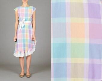 Vintage Pastel Ruffled Dress