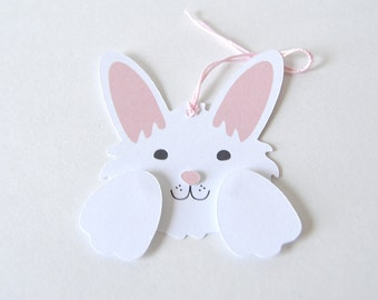 Bunny Gift Tags: cute fuzzy animal party, rabbit birthday, floppy ears, easter party, easter dinner, white rabbit, kids - LRD011TG