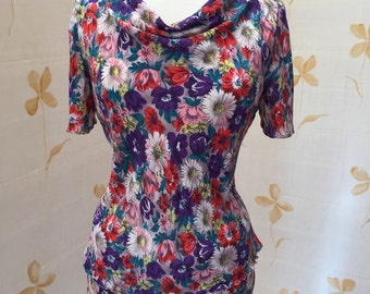 1940s vintage floral silk crepe yardage used to make bias cut skirt and top w cowl neckline