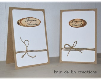 Lot 2 cards greeting kraft, Twine and wood log, provided envelopes
