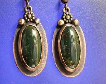 Mixed Metal Bloodstone Earrings Oxidized Copper Bronze Accents