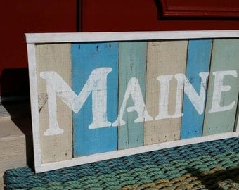 Wooden sign, Maine sign, coastal decor, shabby chic