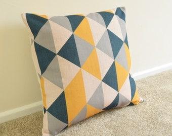 "Mustard/Dark Blue-Black/Grey Triangle Geometric/Scandinavian Cotton Linen Cushion/pillow Cover 18 x 18"""
