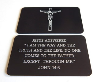 Custom Favorite Bible Verse Wallet Card,John 14:6,Christian Wallet Size Gift,Spiritual and Inspirational Gifts,Personalized Wallet Inserts.