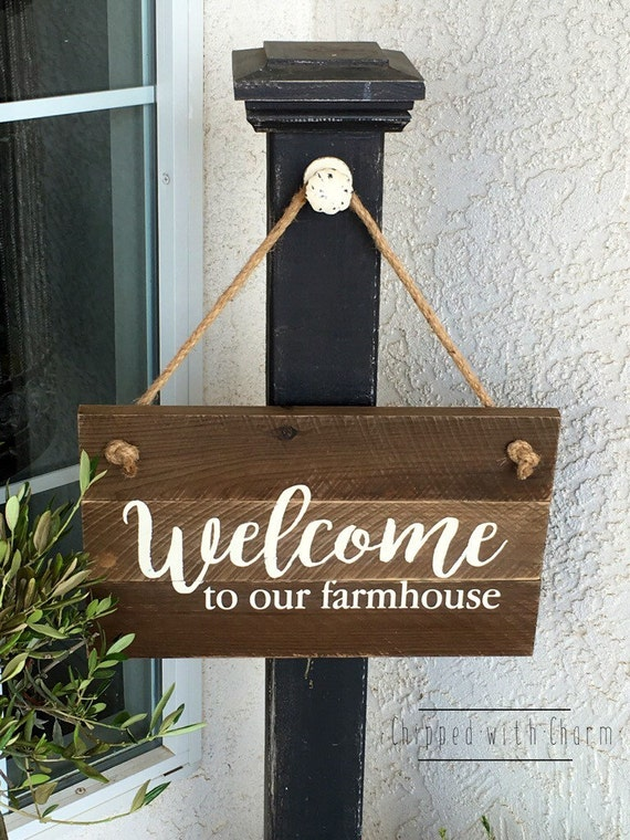 Welcome To Our Farmhouse Sign Hanging Welcome Sign Wood