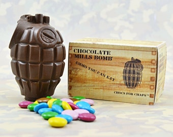 Milk Chocolate Hand Grenade with Chocolate Coated Beans (smarties)