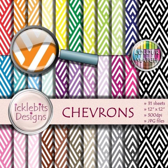 "Chevron Digital Paper Pack ~ ""CHEVRONS"" ~ 31 Sheets ~  patterned digital paper ~ PU and CU Scrapbooking Paper ~ Rainbow Paper ~ Design #100"