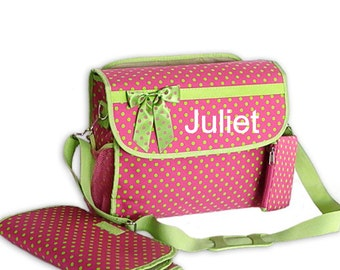 Monogram Diaper Bag Fuchsia with Green Trim and Polka Dots Diaper Bag