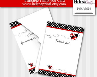 Ladybug Thank you card-Fill in-Instant Download-Blank Thank you cards