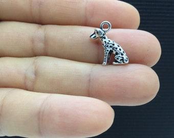 10pcs 3D Dalmatian Dog Tibetan Silver Charm 12x16mm