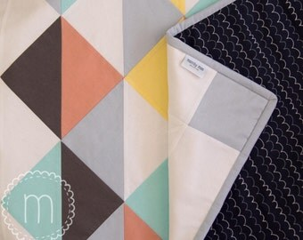 Handmade Patchwork Quilt - Gender Neutral - Scandi - Triangles - Double Lined
