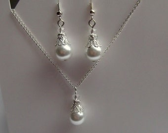 Bridesmaid  Jewelry Set, Bridesmaids Jewelry, White Glass Pearl Pendant and Earrings Set