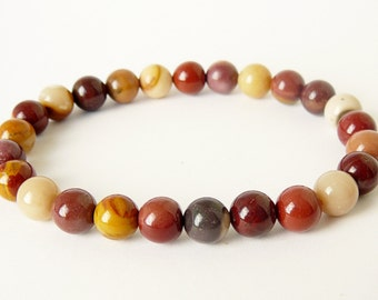 Natural Mookaite Bracelet Meditation Stretch Bracelet Genuine Mookaite Gemstone healing bracelet buddhist bracelet beaded bracelet for women