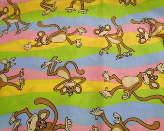 2 yards Bo the Monkey cotton fabric pink/blue/yellow/green stripe
