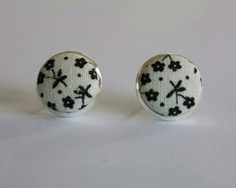 Floral fabric button stud earrings.