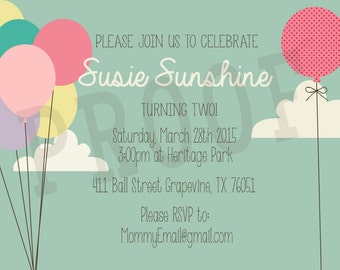 Printable Balloons In the Clouds Invitations