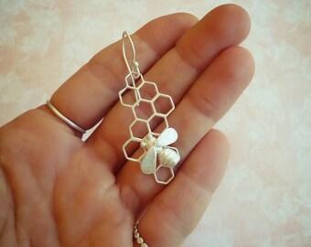 EAD2015 26/365 Bee & Honeycomb Single Earring or Pair of Earrings
