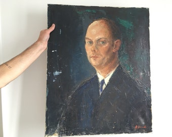 Old portrait of man with oil, 1959.