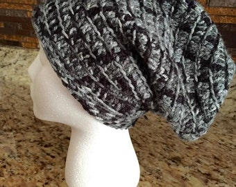 Crocheted Slouchy Hat in black, grey and white