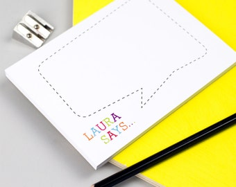 Colourful Speech Bubble Personalised Notepad - Personalised Notepad - Personalised Stationery - Note Card
