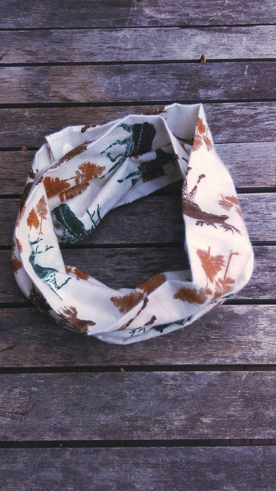 Deer toddler infinity scarf - winter flannel scarf - woodland animals scarf