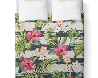 Pink and Green Tropical Flowers Duvet Cover/ Comforter cover/  3 sizes available, king, queen, twin /bedding/ Stripes /Floral/ Leaves/ Green