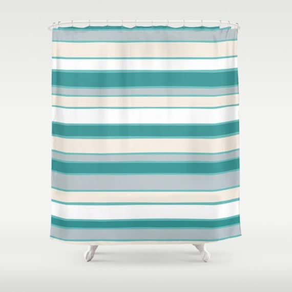 Shower Curtain Aqua Teal Grey Cream Made To By KaliLaineDesigns