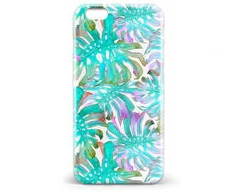 1403 // Green and Purple Leaves Botanical Watercolor Phone Case iPhone 5/5S, 6/6S, 6+/6S+ Samsung Galaxy S5, S6, S6 Edge Plus, S7