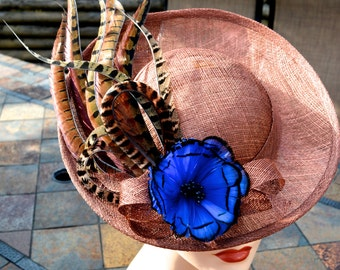Blue & Copper, Feather Fascinator, Pheasant Feather Fascinator, Partridge feathers, Wedding Hat, Races Fascinator, Feather Hat,