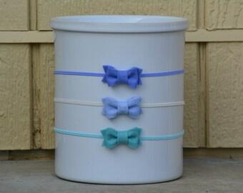 Blue Felt Bow Set - Mini felt bow set - Set of Three - mini felt bow headbands - nylon headbands - Headband Set