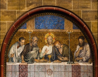 Tile Mural-Last Supper of Christ Mosaic outside a Catholic Church in Germany-Religious Ceramic 17 x 21.25