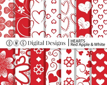 Red Heart Digital Paper: Red Hearts Digital Paper Pack, Valentine Digital Papers, scrapbook papers, digital background, instant download