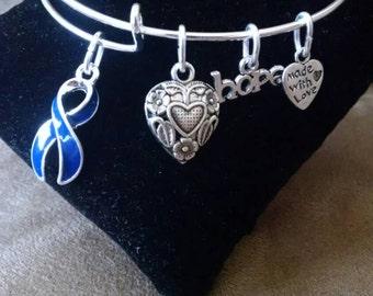Colon Cancer Support Awareness Expandable Bangle Charm Bracelet Dark Blue Ribbon