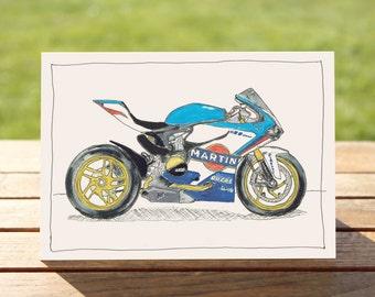 "Motorcycle Gift Card - Blue sportsbike | A6: 6"" x 4"" / 103mm x 147mm | Motorbike Gift Card"
