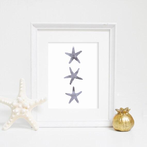 Gray Starfish Print, Digital Print, Wall Decor, Beach Decor, Starfish Wall Art, Nursery Print, Instant Download, Houseware, Watercolor Print