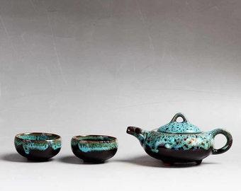 Blue Ceramic Tea Set