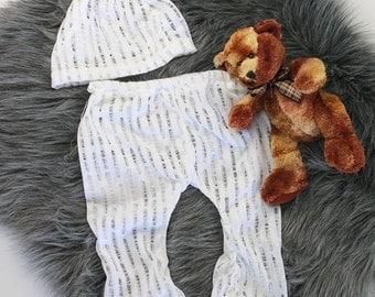 Knot Beanie/Pant Set Photo Prop White Sheer