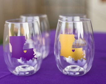 Louisiana wine glasses (Set of 4)