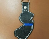 Thin Blue Line New Jersey Keychain