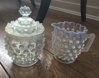 Dewdrop/Hobnail Eapg opalescent covered sugar and Creamer